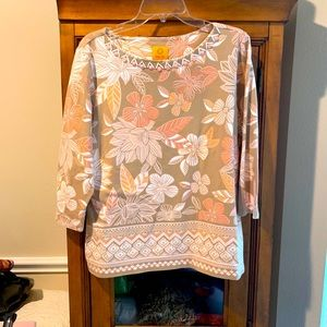 Ruby Rd. blouse 3/4 sleeve XL relaxed fit